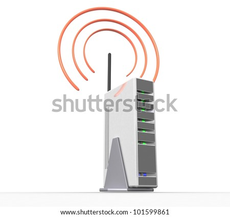 3d wireless internet on a white background isolated - stock photo