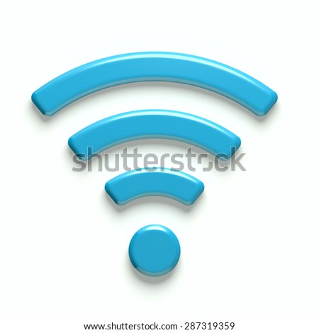 3D Wireless Network Symbol - stock photo