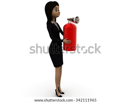 3d woman holding fire extinguisher in hands concept in white isolated background , side angle view - stock photo