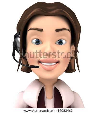 3D woman with a headset - stock photo