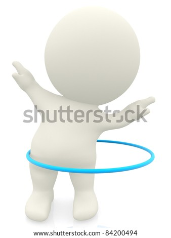 3D woman with a hula-hoop - isolated over a white background