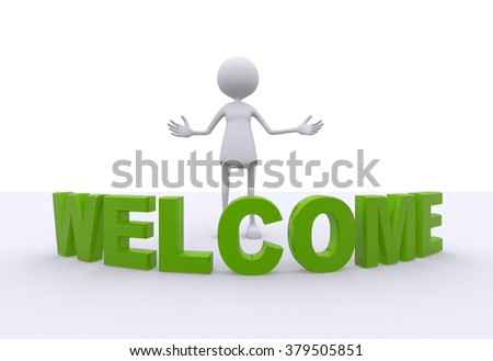 3d women and word welcome - stock photo