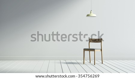 3d  wood and white chair rander of a modern  - stock photo