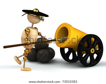 3d wood man clean yellow cannon isolated on white - stock photo
