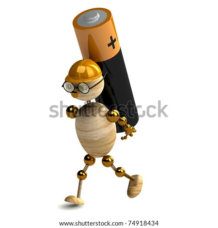 3d wood man is carring battery on white - stock photo