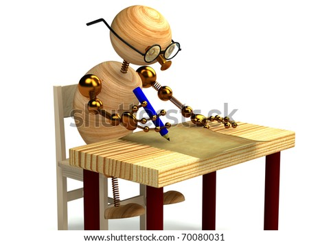 3d wood man is writing a letter - stock photo