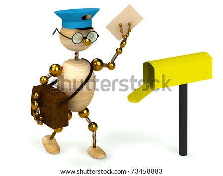 3d wood man postman  bring a letter isolated - stock photo