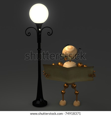 3d wood man standing near lamppost on grey - stock photo