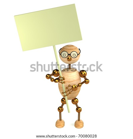 3d wood man with a blank board - stock photo