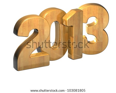 3D 2013 Wood Text over white background