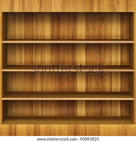3d Wooden book Shelf - stock photo