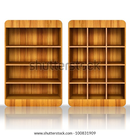 3d Wooden book Shelf background for ebook and tablet pc. - stock photo