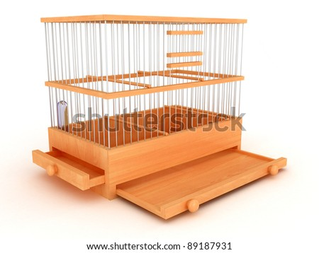 3D Wooden cage with open compartments - stock photo