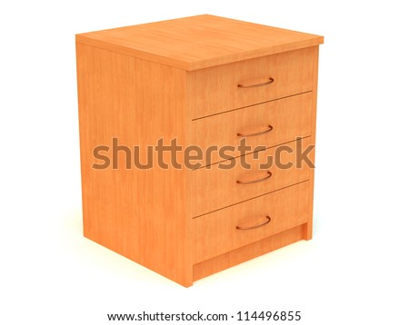 3D Wooden chest of drawers isolated on white - stock photo