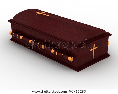 3D Wooden coffin from mahogany, with the christian cross - stock photo