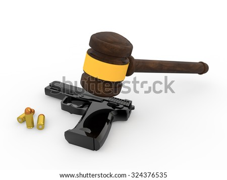 3d wooden gavel and pistol - stock photo