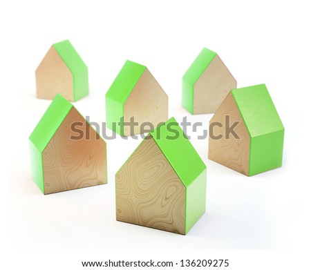 3D wooden house shaped blocks