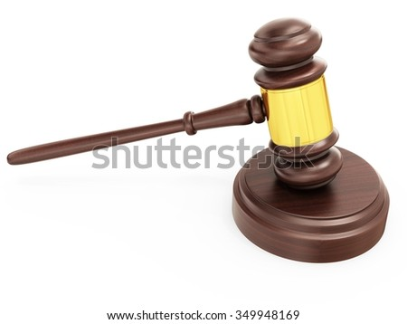 3d wooden judge gavel, lawyer and justice concept on white background