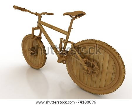 3d wooden model of sporting bicycle - stock photo