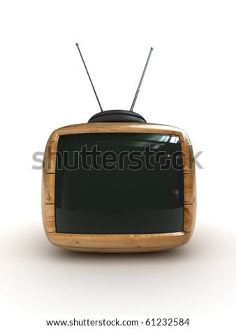 3d wooden Stylish classic tv -black screen - stock photo