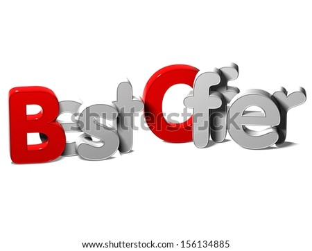 3D Word Best Offer on white background   - stock photo