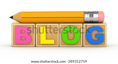 3d word Blog on a white background with a cheerful little man - stock photo