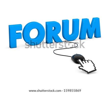 3D Word Forum and Computer Mouse. 3D rendering.