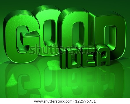 3D Word Good Idea on green background - stock photo