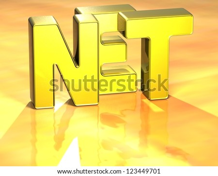 3D Word Net on yellow background - stock photo