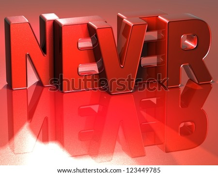 3D Word Never on red background