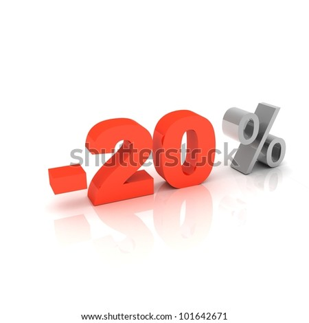 3d word 20 percent off on white isolated background - stock photo
