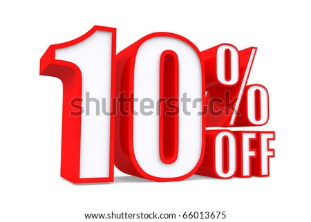 3d word 10 percent off on white isolated background - stock photo