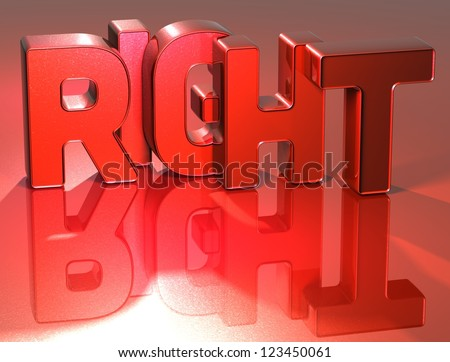 3D Word Right on red background - stock photo