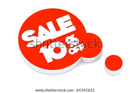 3d word SALE 10 percent off on thinking symbol - stock photo