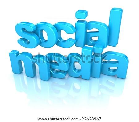 3d word social media on white background - stock photo