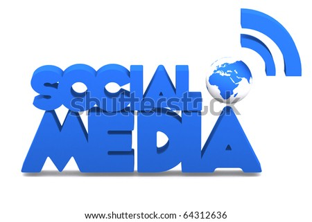 3d word social media with mini global - stock photo