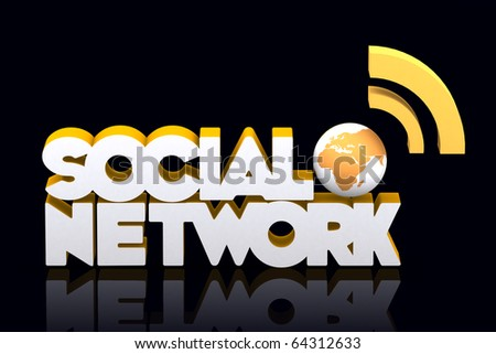 3d word social network with mini global - stock photo