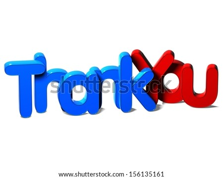 3D Word Thank You on white background   - stock photo
