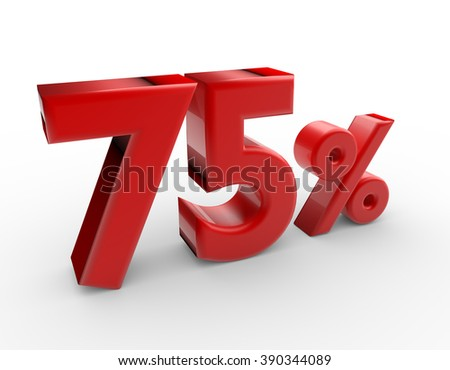3d words 75 percent discount isolated on white - stock photo