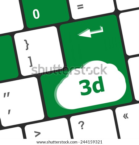 3d words symbol on a button keyboard - stock photo