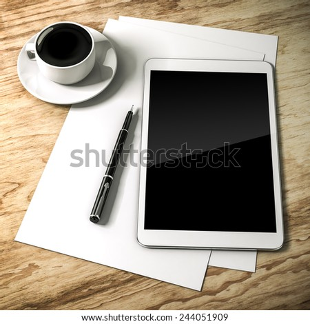 3d work place setup with digital tablet and documents - stock photo