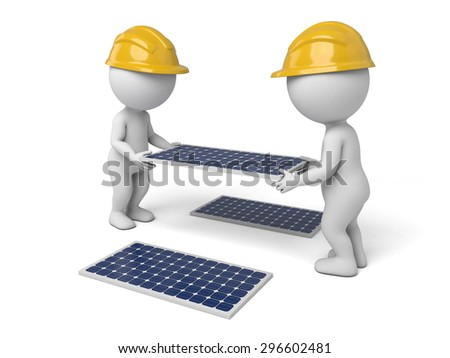 3d worker carrying a solar panel. 3d image. Isolated white background - stock photo