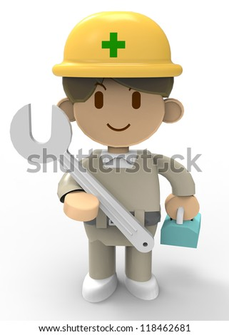 3D - Worker having a Spanner - stock photo