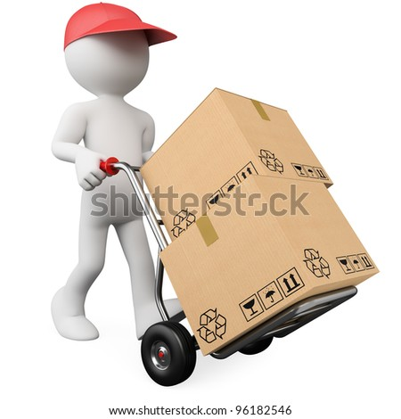 3D worker pushing a hand truck with boxes. Rendered at high resolution on a white background with diffuse shadows.