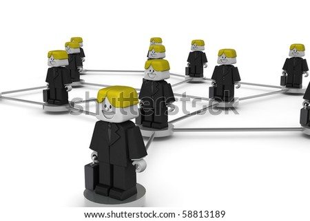 3D worker standing on a virtual connection - stock photo