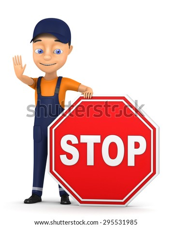 3d worker with a stop sign on a white background
