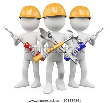 3D Workers - Team of work. Rendered at high resolution on a white background with diffuse shadows. - stock photo