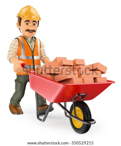 3d working people. Construction worker with a wheelbarrow full of bricks. Isolated white background. - stock photo