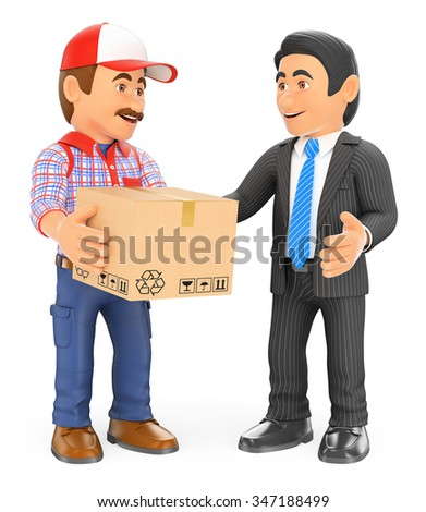 3d working people. Courier delivery man delivering a package to a businessman. Isolated white background. - stock photo