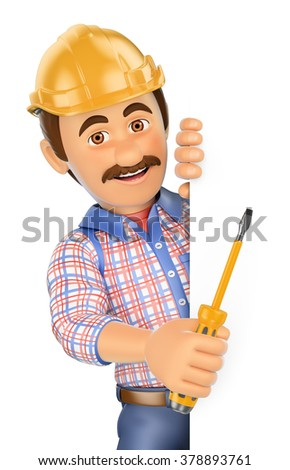 3d working people. Electrician with a screwdriver pointing aside. Blank space. Isolated white background - stock photo